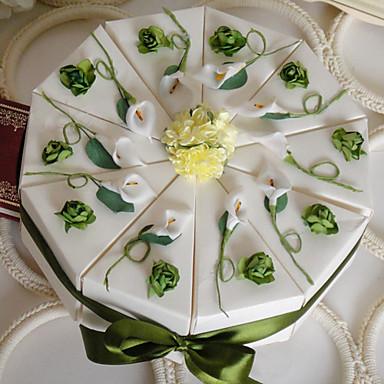 abordables Support de Cadeaux pour Invités-Pyramide Papier durci Titulaire de Faveur avec Ruban Fleur Boîtes à cadeaux