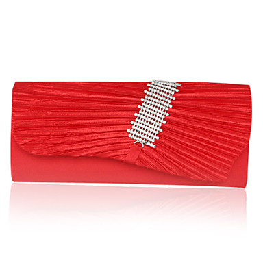 Ruched Satin With Rhinestone Lattice Evening Bag/Clutch (More Colors)