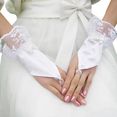 Guanti da sposa in raso con fiocco / applique