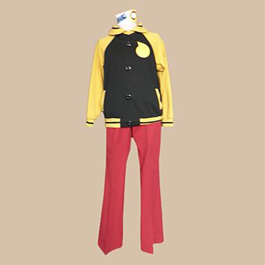 Esinlenen Ruh yiyen Siyah Yıldız Anime Cosplay Kostümleri Cosplay Takımları Zıt Renkli Uzun Kollu Palto / Pantalonlar / Başlık Uyumluluk Erkek Cadılar Bayramı Kostümleri