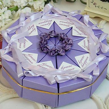 abordables Support de Cadeaux pour Invités-Pyramide Papier nacre Titulaire de Faveur avec Ruban Fleur Boîtes à cadeaux
