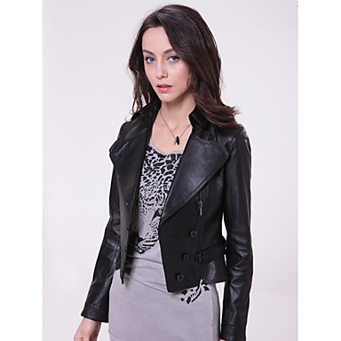 Long Sleeve Turndown Collar Party/ Career Lambskin Leather Jacket With Pockets