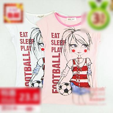 Football Girl Print Girl's Short Sleeve T-Shirt