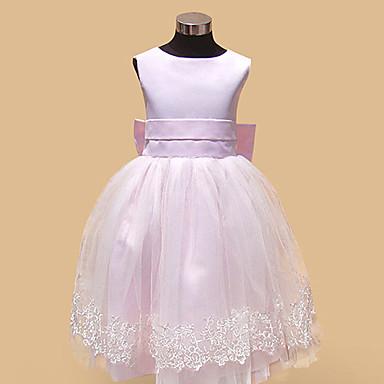 Balowa Lekko nad kolana Sukienka dla dziewczynki z kwiatami - Satyna Tiul Bez rękawów Bateau Neck z Haft nakładany Kokardki przez