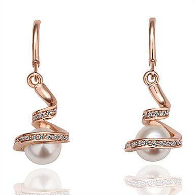moda pendientes de perlas de imitación de aleación aro