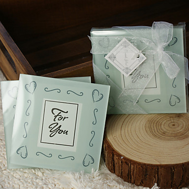 Lasi Square Shaped Photo Coasters Coaster suosii - 2 Kukin / Set Klassinen teema