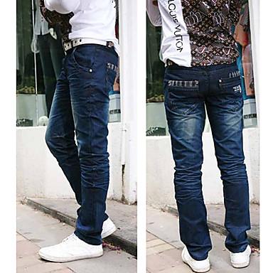 be182b3c1 pantalones de hombre de moda de empalme (cinturón no incluido ...
