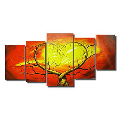Maalattu Abstrakti Mikä tahansa muoto Kangas Hang-Painted öljymaalaus Kodinsisustus 5 paneeli