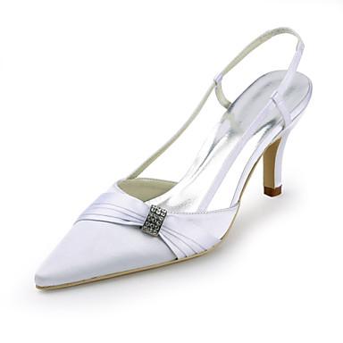 בגדי ריקוד נשים נעליים משי קיץ עקב סטילטו פאייטים / קפלים / פתחים לבן / חתונה / מסיבה וערב