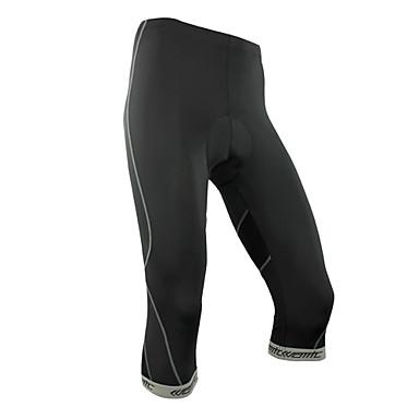 SANTIC Pánské Cyklo 3/4 čapáky - Černá Jezdit na kole 3/4 Tights, Rychleschnoucí, Prodyšné Polyester, Spandex, Coolmax®