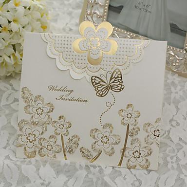 invitation de mariage élégant avec rose d'or - jeu de 50