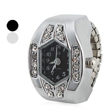 Kadın's Yüzük Saat Japonca imitasyon Pırlanta Bant Işıltılı Gümüş