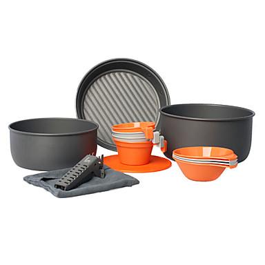 alocs® acampar utensilios 3-4 personas 14pcs sistema portable de la cocinera pot + pan + tazón + taza de senderismo / día de campo