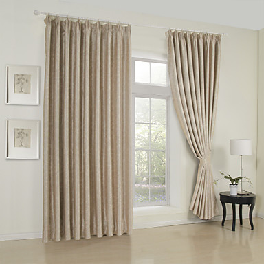Curtains Drapes Living Room Solid Colored 65% Rayon / 35%Polyester Rayon  Embossed
