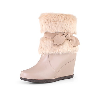 Beautiful Suede Wedge Heel Boots With Bowknot Party / Evening Shoes