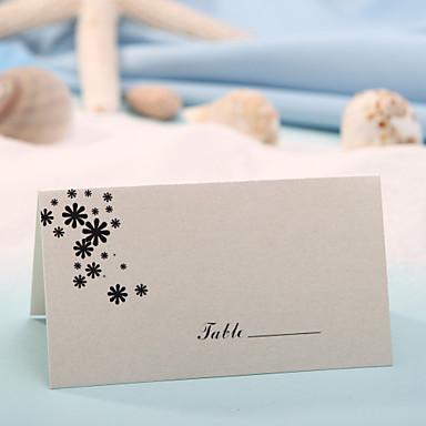Yer kartları ve tutucuları yer kart - küçük siyah çiçek (12 set)