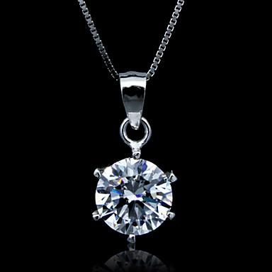 Fine smykker Bare en Carat Zircon Sterling Sølv halskjede