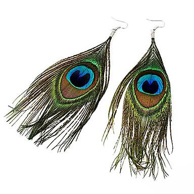 Kadın's Damla Küpeler - Tavuskuşu tüyü Kuş tüyü, Tavuskuşu Bohem, Moda, Boho Koyu Yeşil Uyumluluk Parti