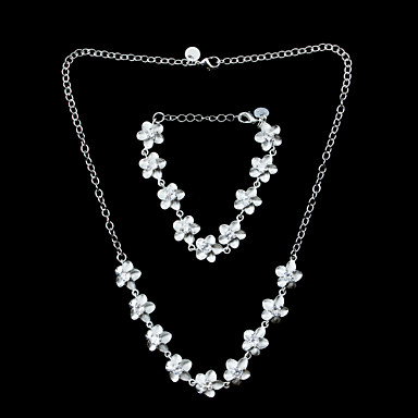 Beautiful Silver Plated Rhinestone Flower Women's Jewelery Set Including Necklace,Bracelet