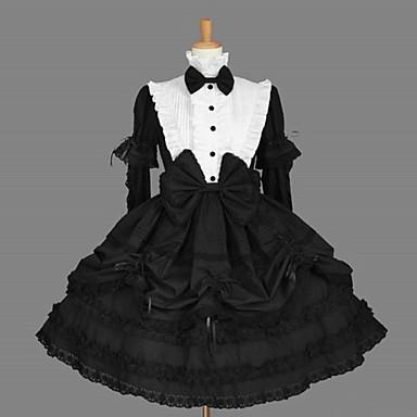 Gothic Lolita Klassinen ja Perinteinen Lolita Naisten Mekot Cosplay Musta Pitkähihainen Keskipitkä Halloween-asut