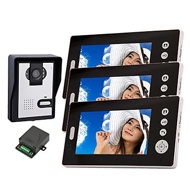 Langattoman pimeänäkö kamera 7 tuuman ovipuhelin monitori (1camera 3 monitorit)