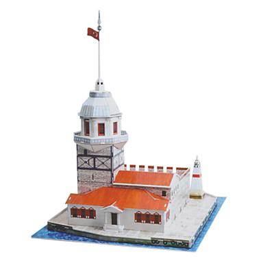 puzzle-uri Puzzle 3D Blocuri de pereti DIY Jucarii castel Hârtie Argintiu / Ivory Jucărie de Construit & Model