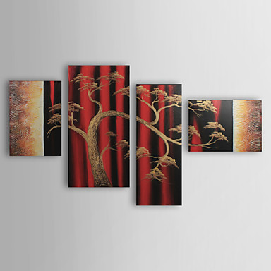Hand-Painted Abstract Landscape Four Panels Canvas Oil Painting For Home Decoration