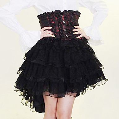 Knielanger Black and Red and White Cotton Gothic Lolita Rock