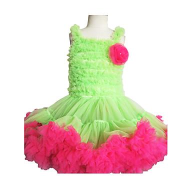 PettiDress Apple Green With Pink Ruffle Chiffon Flower Girl Dress