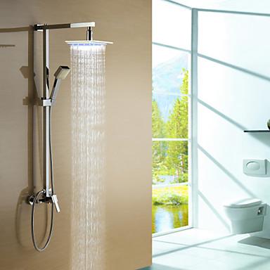 Moderne Système de douche Douchette inclue LED Soupape céramique Mitigeur Trois trous Chrome, Robinet de douche