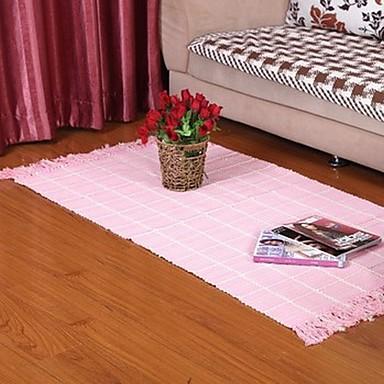 ELAINE 100% Cotton Carpet Patterned with Plaid (80*150cm,Pink)