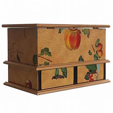 starožitné evropský styl ovoce vzor multifunkční úložný box dřevěný tkáně