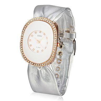 dámské kožené quartz sklo kulatý tvar šaty hodinky