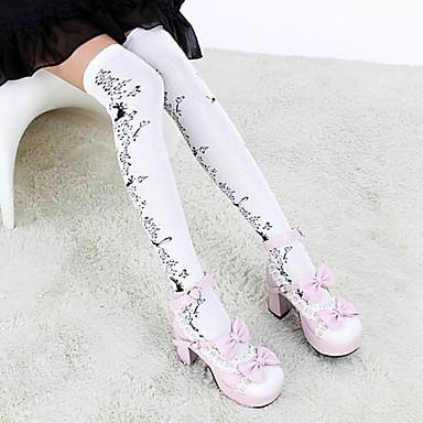 ponožky do výšky stehen Ponožky a punčochy Gothic Lolita Lolita Lolita Dámské Bílá Černá Lolita Příslušenství Květinový Květiny Punčocháče