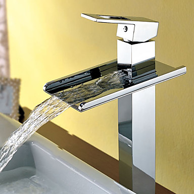 Suvremena Nadgradni umivaonik Waterfall Keramičke ventila One Hole Jedan Ručka jedna rupa Chrome, Kupaonica Sudoper pipa
