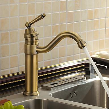 Antiikki Bar / Prep Pöytäasennus Keraaminen venttiili Yksi reikä Yksi kahva yksi reikä Antiikkimessinki, Kitchen Faucet