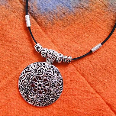 kůže tibetské stříbro náhrdelník (délka: 40 cm)
