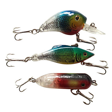 3 pcs Hard Bait Lure kits Fishing Lures Lure Packs Hard Bait Green Red Blue g/Ounce mm/3-1/4