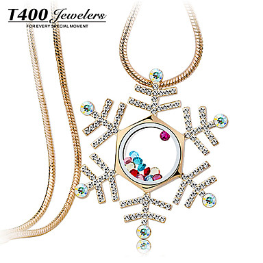 T400 White Snowflake Syntetisk Crystal K forgyldning Long Necklace