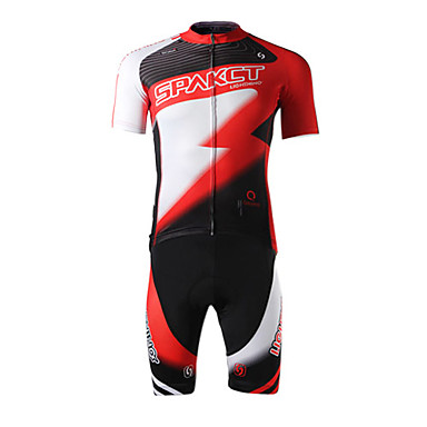 SPAKCT Men's Short Sleeves Cycling Jersey with Shorts - Red Bike Shorts Jersey Clothing Suits, 3D Pad, Quick Dry, Ultraviolet Resistant,
