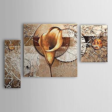 Hang-Boyalı Yağlıboya Resim El-Boyalı - Çiçek / Botanik Modern Üç Panelli