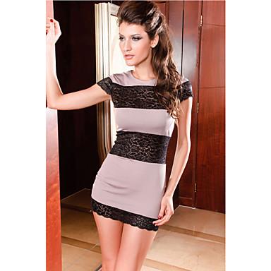 Naisten Tyylikäs Spandex Jatkaminen Lace Dress (Length: 64cm Bust :86-102cm Vyötärö :58-79 Hip :90-104cm)