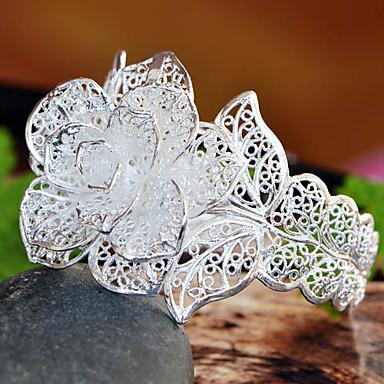 Damen White Silver Big Rose Breite Armband
