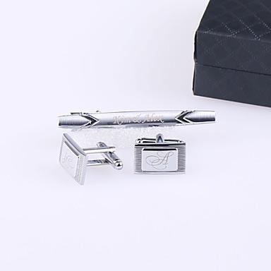 abordables Cadeaux de Mariage-Acier inoxydable Boutons de manchettes & Clips de cravate Marié Groom Mariage Anniversaire Entreprise