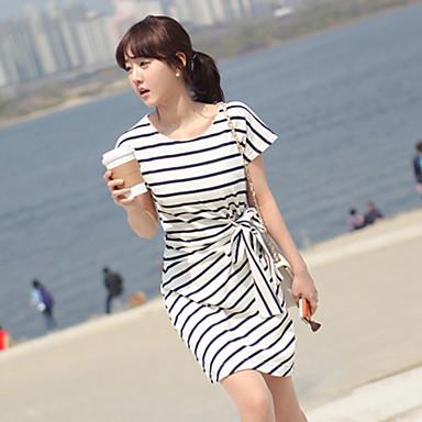 Stripe Feminina Mudança Vestido com cinto