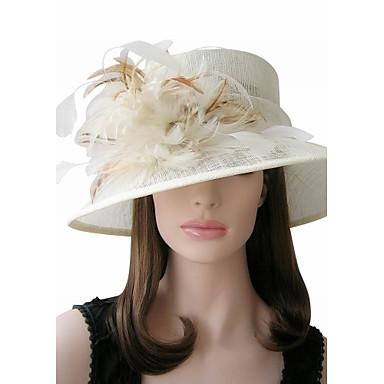 Linho bonita com penas ocasião / casamento especial Chapéus