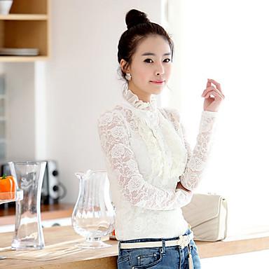 Kvinners Ruff Collar Shirt med Lace Sleeve