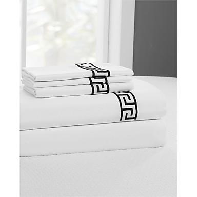 Komfortní Bavlna Prostěradlo Satén Geometrický Výšivka 400