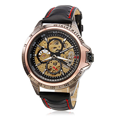 WINNER Herrn Automatikaufzug Mechanische Uhr / Armbanduhr Transparentes Ziffernblatt PU Band Charme Schwarz