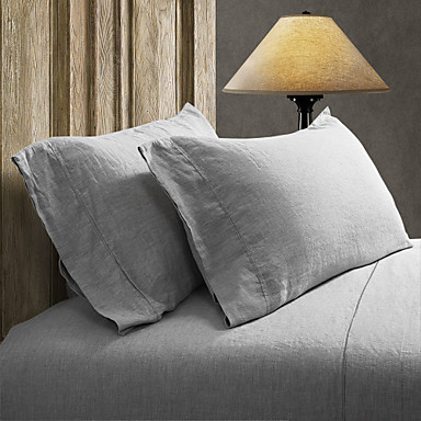 Comfortable Linen Pillow Cover Plain Geometric Embroidery 2pcs Pillowcases Embroidery